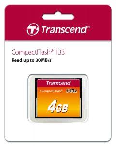 כרטיס זיכרון טרנסנד CF 4GB X133